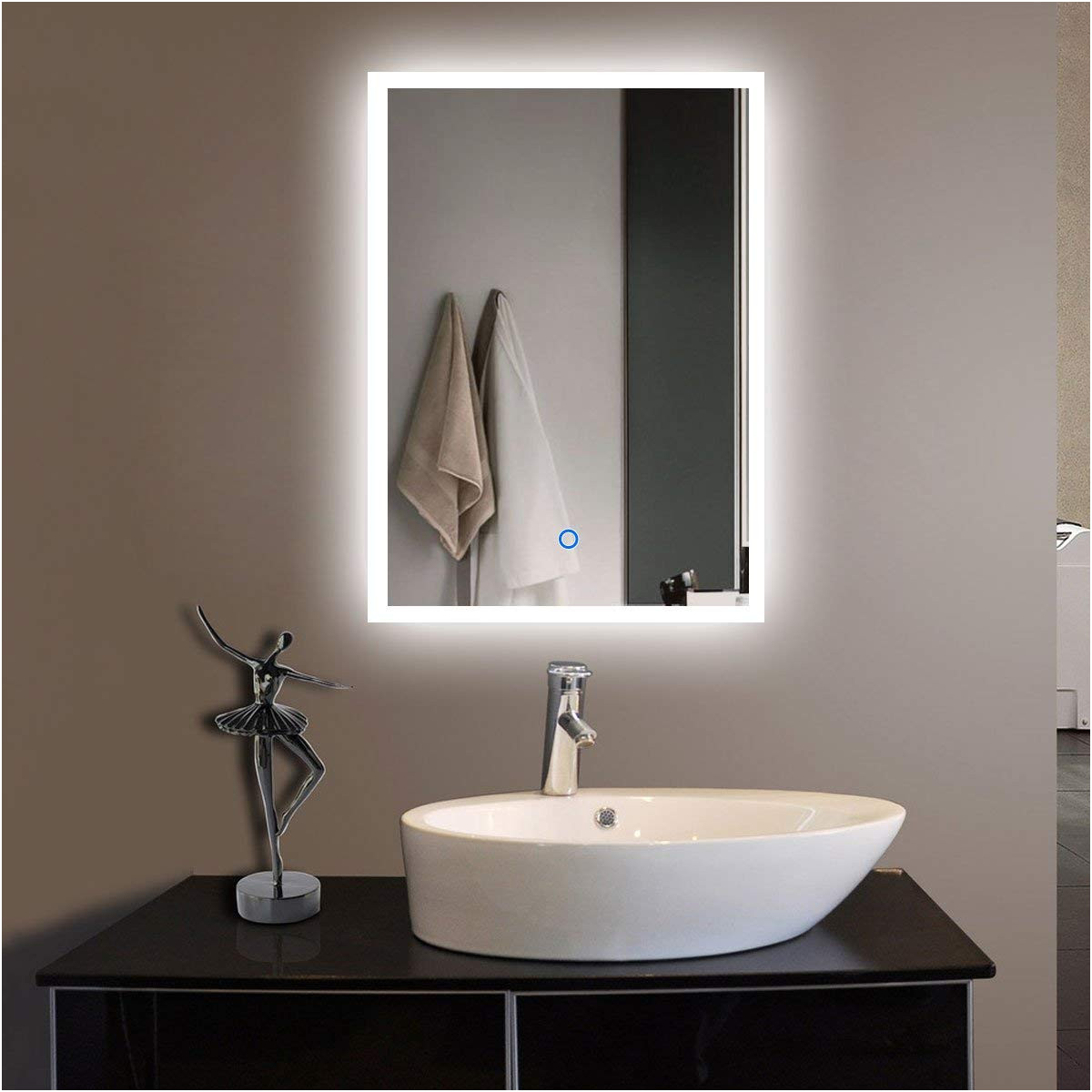 42 Inch Wide Bathroom Mirror Awesome Amazon 55 X 36 In Horizontal Led Bathroom Silvered Mirror with