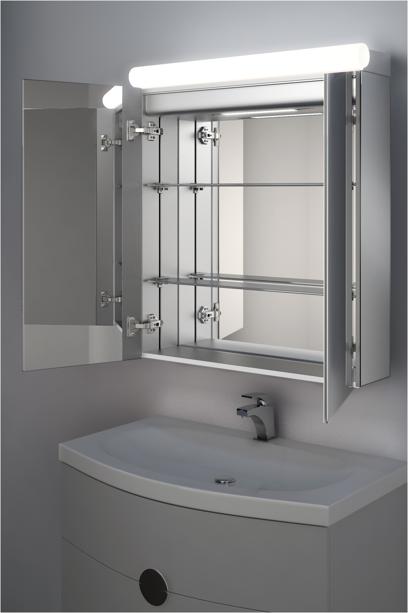 800mm Wide Mirrored Bathroom Cabinet Fresh Taniya top Light Diffuser Cabinet with Bluetooth Audio H 700mm X W