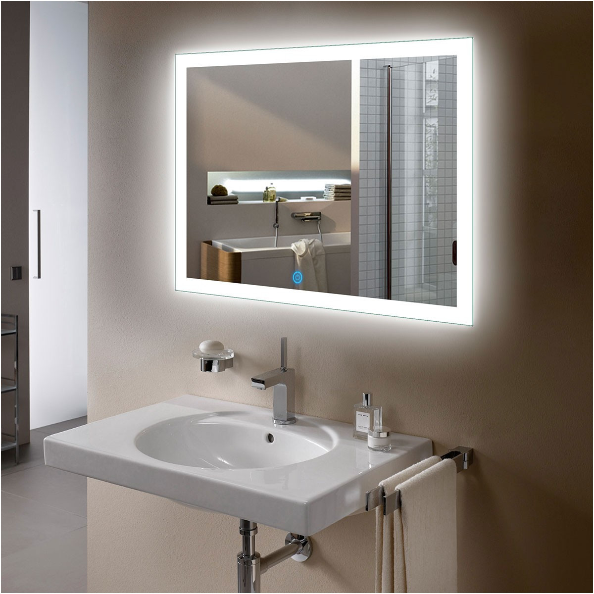 Inspirational Bathroom Mirror with Lights and Shelf