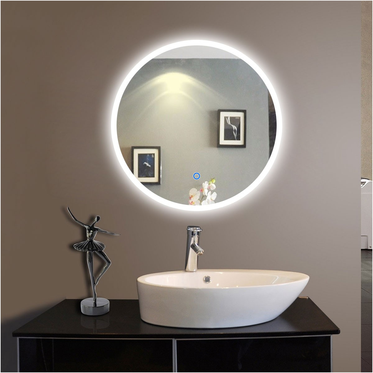 Circular Bathroom Mirrors with Lights Luxury 24 X 24 In Round Led Bathroom Mirror touch button Dk Od Cl065 1