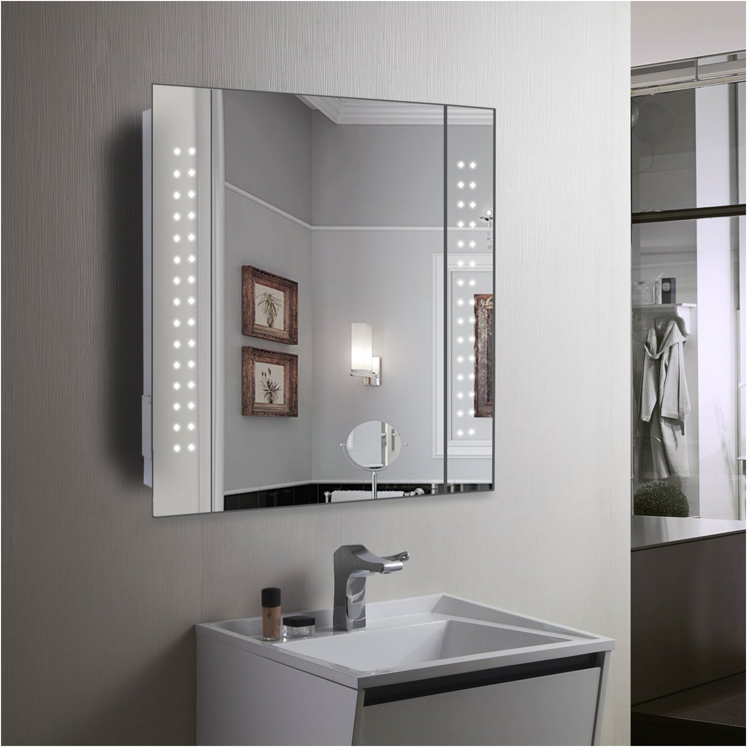 Unique Mirrored Bathroom Cabinets with Shaver Point