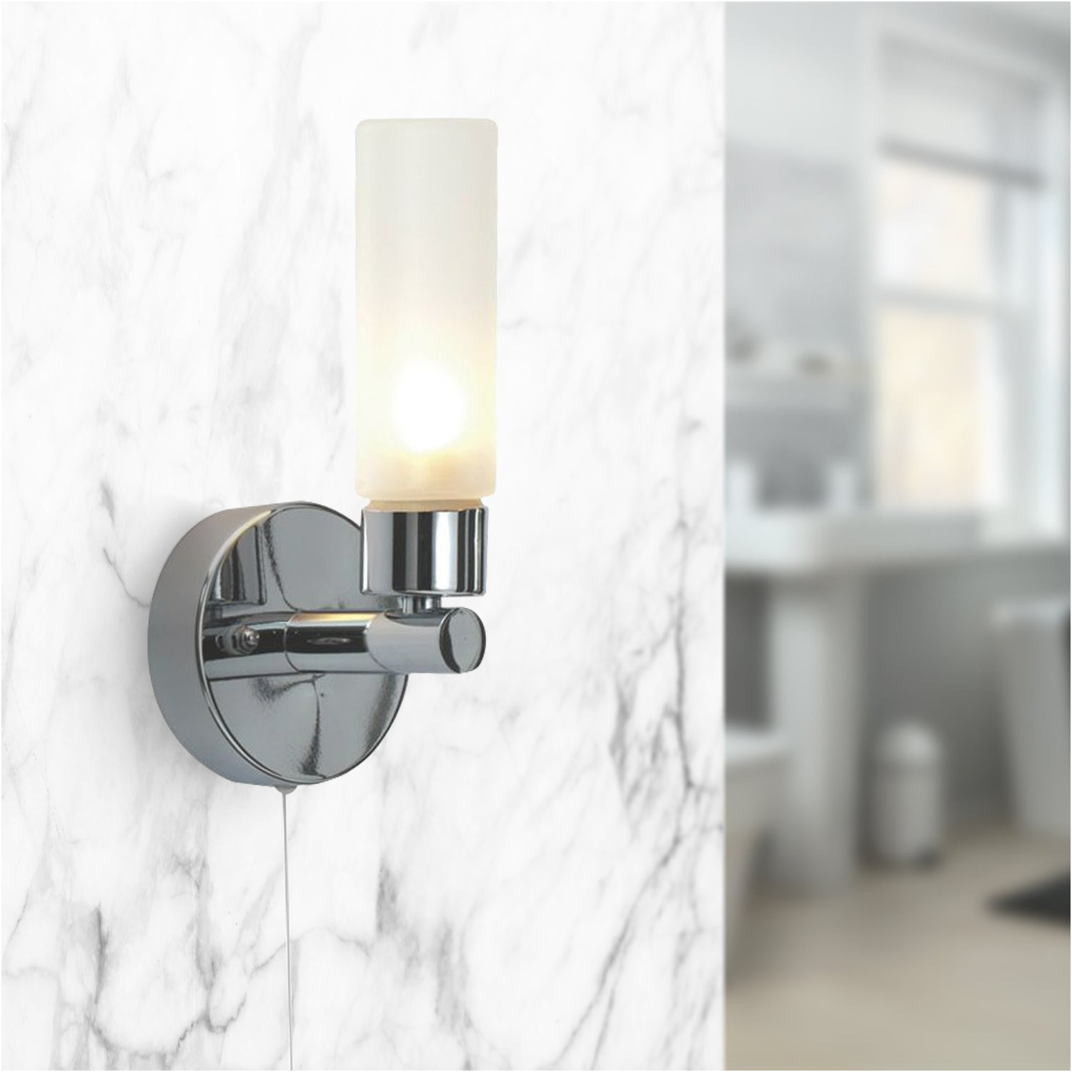 Over Mirror Bathroom Light with Pull Cord Unique Polished Chrome Ip44 Bathroom Wall Light with Pull Cord Switch