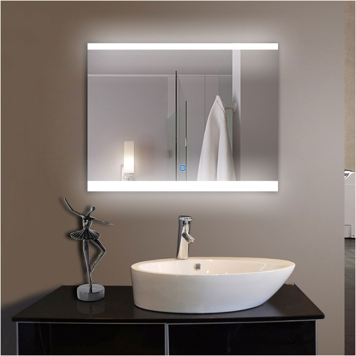 Square Bathroom Mirror On Stand Fresh 36 X 28 In Horizontal Led Bathroom Silvered Mirror with touch button