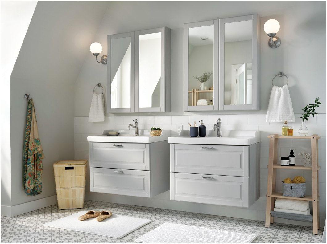 Elegant White Wooden Mirrored Bathroom Cabinets