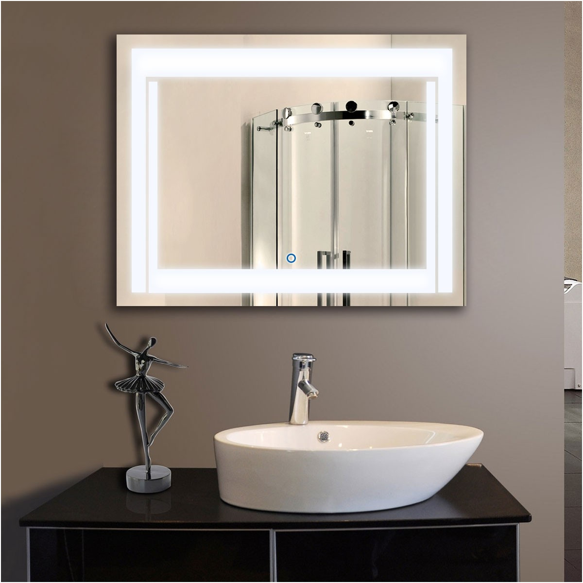 Wide Bathroom Mirrors with Lights Inspirational 36 X 28 In Horizontal Led Bathroom Silvered Mirror with touch button