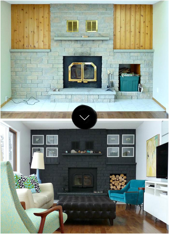 Before and after Fireplace Remodel Awesome before & after Gorgeous Fireplace Makeovers – Design Sponge