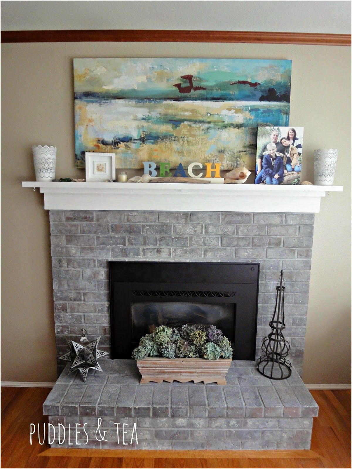 Brick Fireplace Remodel Awesome Puddles & Tea White Wash Brick Fireplace Makeover