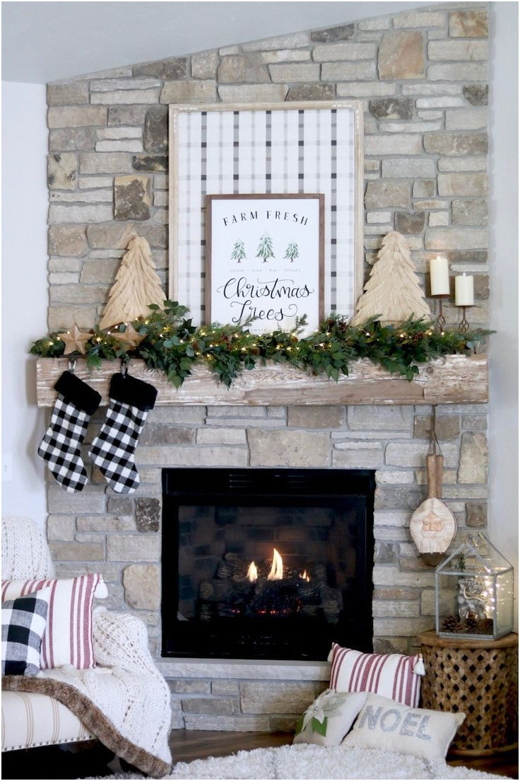 Decoration Ideas for Fireplace Mantel Inspirational Farmhouse Christmas Mantel Diy Plaid Sign