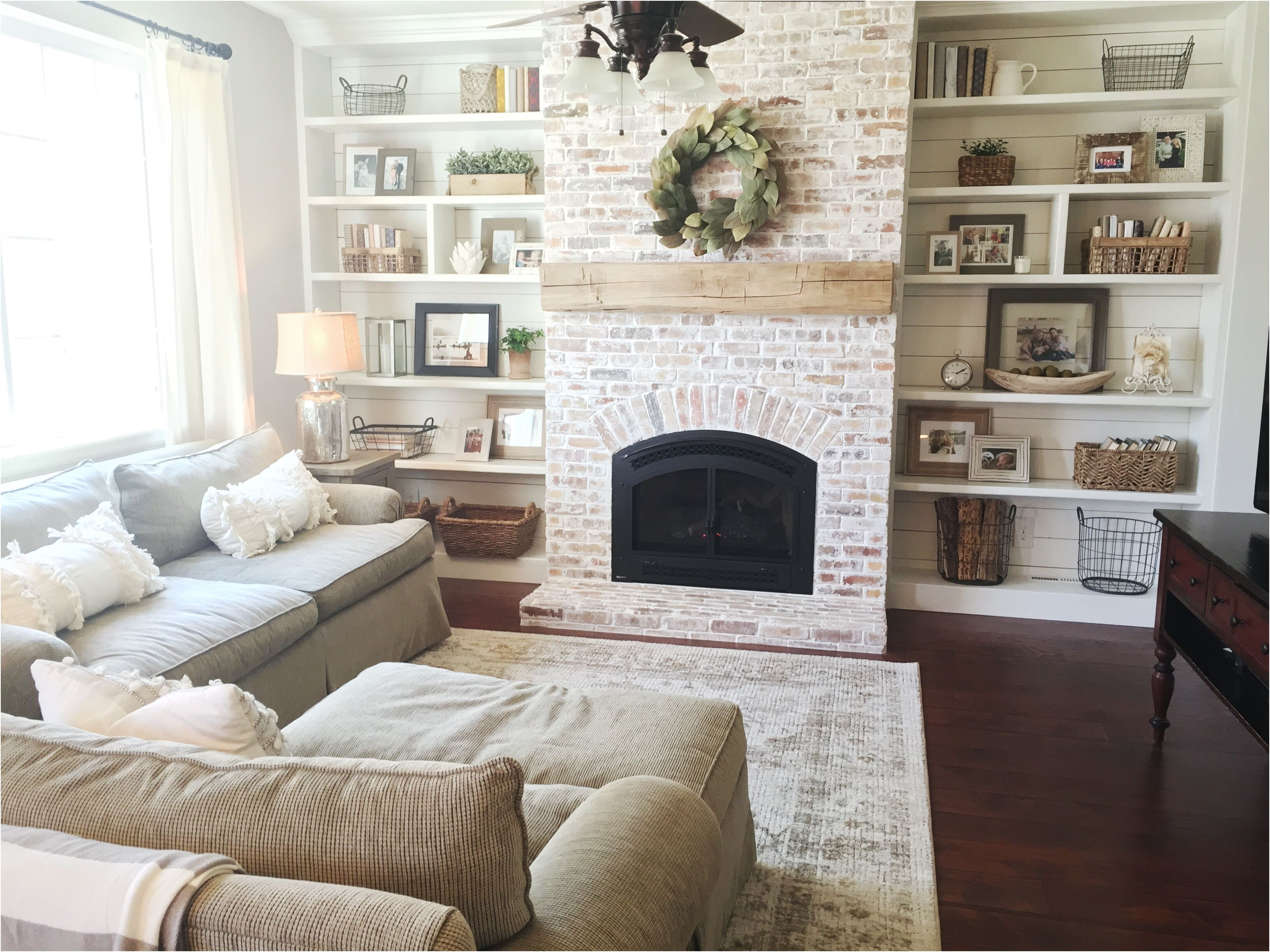 Fireplace Ideas Brick New Built Ins Shiplap Whitewash Brick Fireplace Bookshelf